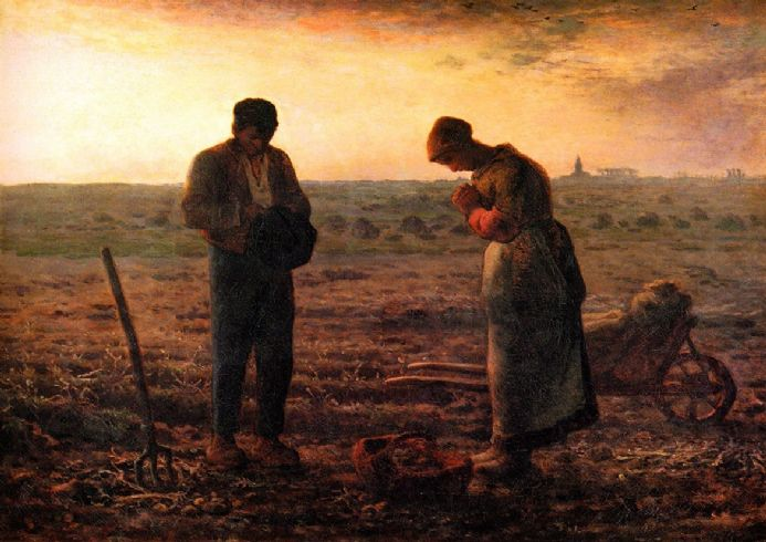 Millet, Jean-Francois: The Angelus. Fine Art Print/Poster. Sizes: A4/A3/A2/A1 (00707)